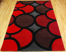 SMALL MEDIUM LARGE EXTRA LARGE 1-2cm THICK MODERN BUBBLE RED COLOUR DESIGNER RUG