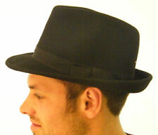 Brand New Mens Original Wool Felt Black Trilby Hat