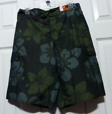 Hang Ten Mens Swim Trunks  Dark & Medium Gray Floral Print  Sizes: S, M. L, XXL