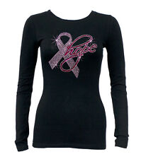 Rhinestone Breast Cancer HOPE Black Round Neck Long Sleeve T Shirt pink ribbon