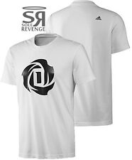 NEW Adidas Men's D ROSE LOGO Crewneck Tee Shirt Top White Bulls Derrick 1 drose