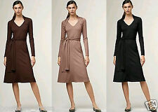 $189NWT Talbots Sash Wrap Long Sleeves V-Neck Belted Jersey Knit Dress