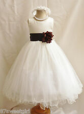 NEW IVORY CHOCOLATE BROWN INFANT GOWN FLOWER GIRL DRESS 18-24MO 2 4 6 8 10 12 14