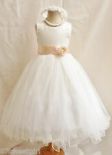 NEW IVORY PEACH TODDLER RECITAL PARTY FLOWER GIRL DRESS 18-24MO 2 4 6 8 10 12 14