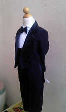 BOY TUXEDO WITH TAIL PENGUIN CUMMERBUND TIE BLACK FORMAL SUIT RECITAL ALL SIZE