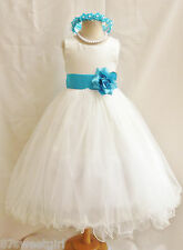 NEW IVORY TURQUOISE BLUE WEDDING BIRTHDAY PAGEANT PARTY FLOWER GIRL DRESS