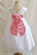 NEW VB WHITE/GUAVA PETUNIA DAVIDS WEDDING PAGEANT KIDS PARTY FLOWER GIRL DRESS