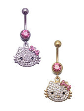 HELLO KITTY BELLY BAR NAVEL RING SURGICAL STEEL PINK RR