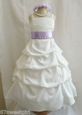 SPU IVORY LILAC PURPLE IRIS WEDDING PARTY RECITAL GOWN PAGEANT FLOWER GIRL DRESS