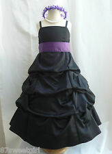 SPU BLACK LAPIS PURPLE WEDDING RECITAL BIRTHDAY GOWN PAGEANT FLOWER GIRL DRESS