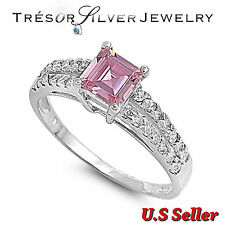 sterling silver womens pink cz engagement wedding ring size 4 5 6 7 8 9 10