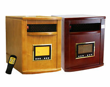 Wooden 6 Quartz Infrared Heater 1500W Oak or Cherry Wood Case w/ Remote