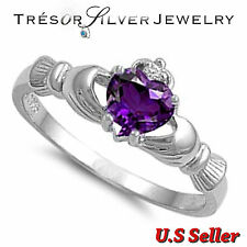 womens irish claddagh heart amethyst cz sterling silver ring size 4 5 6 7 8 9 10