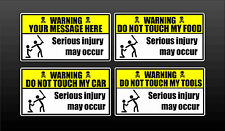 Funny warning vinyl decal personalized warning car toolbox stickers decals