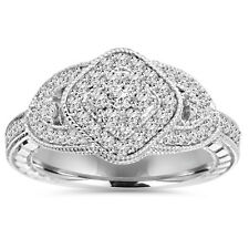.79CT Pave Vintage Antique Style Engagement Anniversary Ring 14K White Gold New