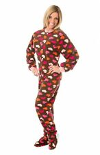 Chocolate Brown With Hearts Adult Footed Pajamas Footie Drop Seat New