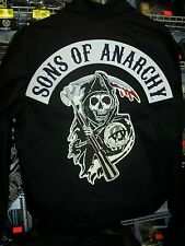 SONS OF ANARCHY ARCHED REAPER PATCH DESIGN UNLINED ZIP UP JACKET NEW !