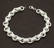 """Textured Multi Circle Link Bracelet Authentic 925 Sterling Silver up to 8 1/2""""!"""