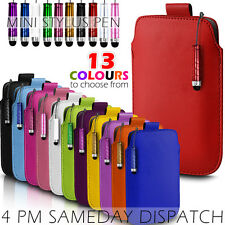 LEATHER PULL TAB SKIN CASE COVER POUCH + MINI STYLUS FITS VARIOUS ZTE PHONES