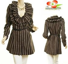 Victorian Ruffle Collar Spikes Belt Brown Pinstripe Cashmere Jacket Trench Coat