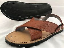 LEATHER MEXICAN two strap SANDALS ostrich print HUARACHE MEN *ALL SIZES*