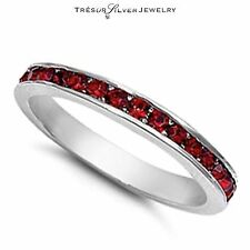 womens garnet cz sterling silver eternity wedding band ring size 4 5 6 7 8 9 10