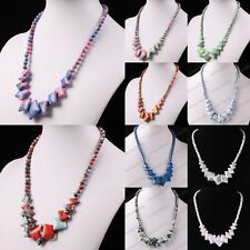 Fashion Howlite Turquoise Gemstone Round Ball Square Beads Chain Choker Necklace
