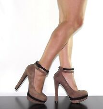 "Womens 5"" Beige Tan Thin Ankle Strap Faux Suede Strappy High Heel Sandal Mary-24"