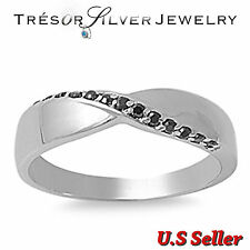 sterling silver black cz womens engagement wedding band ring size 5 6 7 8 9 10