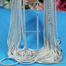 """Wholesale 10pcs New Solid Silver Plated 1mm Snake Chain Necklace 16""""-24"""""""