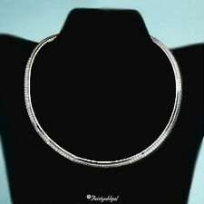 BOLD 14K WHITE GOLD PLATED WIDE OMEGA NECKLACE IN SIZES