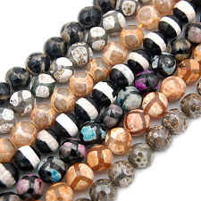 12mm Faceted Black Tibetan Mystical Old Agate Spherical Beads 16pcs Pick Color