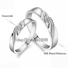 925 Sterling Silver 18K Plated Platinum Men's Women's  CZ Crystal Ring CR06