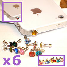 6X STRASS BOUCHON PRISE JACK IPHONE 4S 5 GALAXY S2 S3 Y ACE ANTI POUSSIERE coque