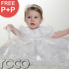Baby Girls White Christening Dress Traditional Embroidered Baptism Gown