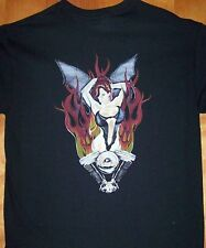 BIG BUSTED BIKER CHICK T Shirt  Sz  Sm - 5XL Flaming Chopper Motor