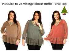 WOMAN CURVE PLUS SIZE 18-24 VINTAGE 60s TOP BLOUSE SHEER LACE RUFFLE TUNIC DRESS