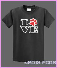 Love Paw Love Animals Love Dogs Love Cats 100% Cotton T-shirt