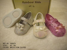 Rainbow Kids Baby Infant Toddler Girl White Pink Silver Dress Shoes Sizes 1 to 4