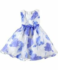 RARE EDITIONS NEW BLUE AND WHITE FLORAL BURNOUT DRESS