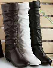 New Women's Boots Fashion Knee High Low Heel Shoes AU All Size B020