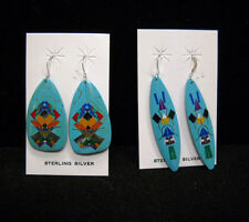 Handmade Painted Wooden Earrings with Sterling Silver Hooks,NEW!!