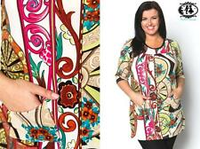 LADIES PLUS SIZE 16-32 ORNATE FLOWER PAISLEY TUNIC DRESS SKATER PARTY TOP BLOUSE