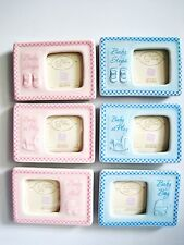 """3 pc Baby Girls Boys Fridge Magnets Photo Picture Frame 3""""x2 1/4"""" Blue Pink"""