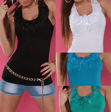NEW SEXY LADIES SINGLET TANK TOP RIBBED  LACE EMBROIDERY 6 8 10 12 14 PARTY/CLUB