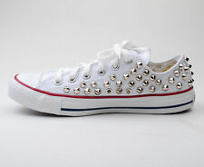 Custom Genuine Low White Converse Silver Spike Stud Punk Style Fashion Sneaker
