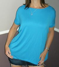 Sexy PIKO Dolman Wide Open Boat Neck Dolman Sleeve Tunic Top Shirt Blue S/M/L