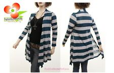 Boho Long Open Front Sleeve Gray Teal Stripe Knitted Sweater Cardigan S M L XL