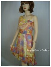 Runway Paris Retro Watercolor Victorian Faux Silk Chiffon Taffeta Smocked Dress