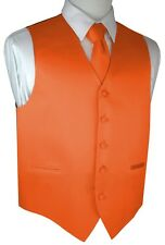 ITALIAN DESIGN. 3 PIECES MANDARIN SATIN TUXEDO VEST, TIE & HANKY SET. XS-4XL